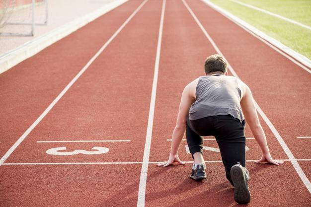 Atleta listo para salir a correr