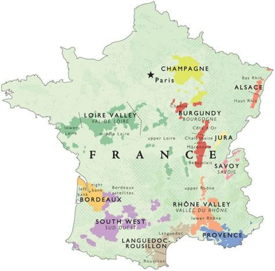 Mapa del vino Francia